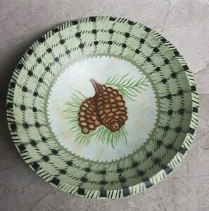 MWW Market- Manual Woodworkers & Weavers Wooden Painted Bowl, Pinecones & Plaid