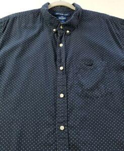 Old Navy Men Short Sleeve Button Up Shirt XXL 2XL Blue White Floral Dot Slim Fit