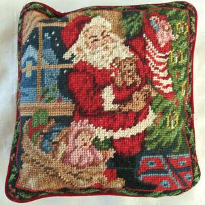 Santa Small Needlepoint Pillow 10x10 Christmas Tree Toys Stocking Red Backing