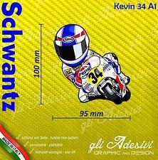 Adesivo Moto Kevin Schwantz caricatura stickers carene casco 10 x 10 cm