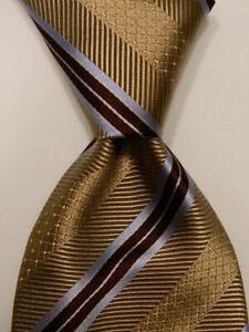 ERMENEGILDO ZEGNA Men's Silk Necktie ITALY Luxury Geometric Tan/Brown PERFECT