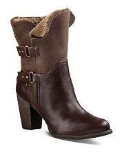 UGG Jayne Cuffable Heeled Boot NEW Stout Leather Chocolate Brown Sz 10 $250