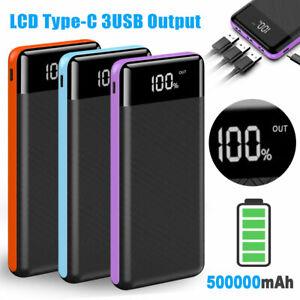 500000mAh Portable Power Bank LED 3 USB External Battery Pack Charger UK