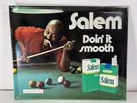 "Vintage 1980 Salem Cigarettes ""Doin It Smooth"" Metal Sign Pool Hall Cool Man b"