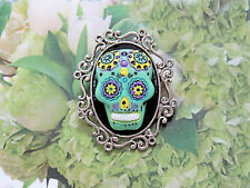 Unisex Goth /Day of the Dead Green Sugar Skull Cameo A.SP Brooch Pin Tie Tack