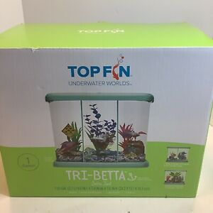 Top Fin Tri Beta 1 Gallon Fish Aquarium With 3 Light LED Hood, 2 Dividers, New