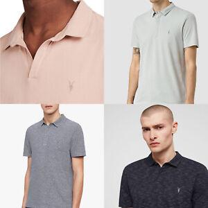All Saints Mens Designer AllSaints Short Sleeve Polo Shirt Collared T-Shirt Tee