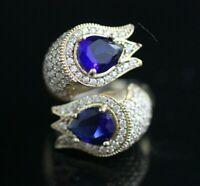 Turkish Handmade Jewelry Sterling Silver 925 Sapphire Ladies Ring Adjustable