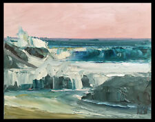 PALE PINK PACIFIC Three Original Expression Seascape Painting 8x10 020519 KEN