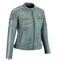 Damen Motorrad Lederjacke Motorradjacke Retro Taillierter Schnitt Biker Jacke,