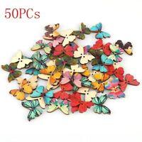 50PCs Bricolaje Forma Mariposa 2 Agujeros Botones De Madera De Coser