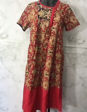Fashion Womens Size M/L Red Asian Chinese Oriental Maxi House Dress Short Sleeve