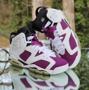 Nike Air Jordan 6 Retro Grape 6.5Y White Vivid Pink 543390-127