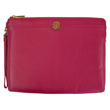 Tory Burch Large Leather Landon Zip Pouch Clutch Carnation Red