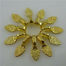 11790/50PCS Gold Tone Oval Tear Glue on Bails Setting For Necklaces Pendant Loop