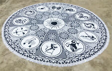 Black and White Astrology Round Tapestry With Tassel Fringes Cotton Round Throw