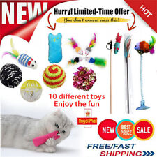 Cat Kitten Toys Rod Fur Mice Bells Balls Catnip BULK Buy 10 Items UK