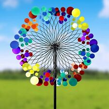 Rainbow Wind Mill Spinner Kinetic Lawn Garden Decor Patio Stake Yard Art Ornamet