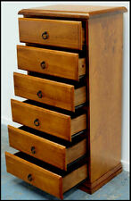 BANKSIA ASSEMBLED TIMBER TALLBOY SLIM LINGERIE CHEST OF 6 DRAWERS IN BLACKWOOD