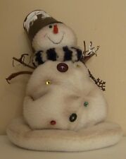Primitive Snowman Decor Christmas Figurines Seasonal Home Decor Frosty Holidays