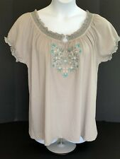 LENA Pale Grey Peasant Top~Turquoise White Embroidery~Short Sleeves~NWT~14/16 1X