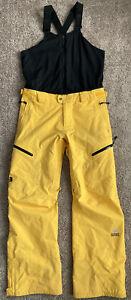 North Face Goretex Men's M Yellow Ski Snow Bibs Pants Steep Series Free Thinker