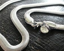 """SC 002 Plum UK 20"""" / 51cm silver layered smooth flat snake chain necklace BOXED"""