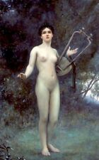 Oil painting Charles William Mitchell The spirit of song nude naked Hand painted