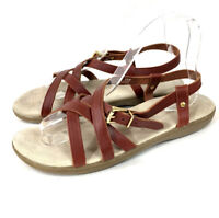 GH Bass Sunjuns Womens Sandals Margie Brown Leather Slingback Strappy Size 8.5 M