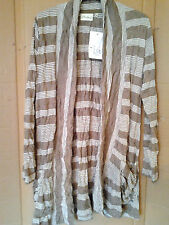 Adini Poly/Viscose crushed striped coat throwover style long sleeves hip pockets