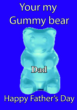 Blue Gummy Bear Cute Happy Father's Day card codehfd48 A5 Personalised Greetings