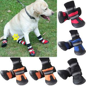 Waterproof 4Pcs Dog Pet Boots Anti-Slip Shoes Protective Rain Booties Socks Warm