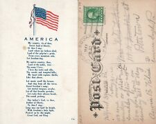 PATRIOTIC ANTIQUE 1920 POSTCARD AMERICA SONG by SAMUEL SMITH