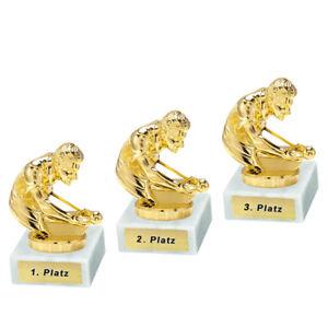 3 Billard-Pokale mit 1.2.und 3.Platz oder Wunschgravur (P0103)