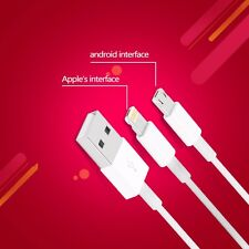 NEW Cell Phones, Tablet DUAL 8-PIN & MICRO USB Portable Fast Charging Data Cable