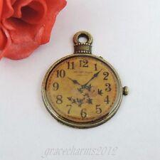 10pcs/lot Antiqued Bronze Alloy Pocket Watch Pendant Charms 32*25*2mm 39359