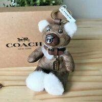 COACH Signature Bear Bag Keychain Charm NWT