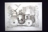 Incisione d'allegoria e satira Il ritorno di Pio IX a Roma 1850 Don Pirlone 1851