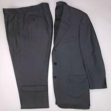 Ermenegildo Zegna 44L Suit Birdseye 3 Button Wool Mens Size Italy Pleated 36x31