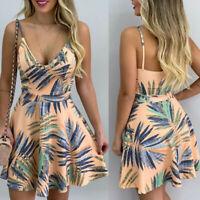 Womens Boho Floral Summer Strappy Party Evening Beach Short Mini Dress Sundress