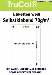 1-1000 Etiketten DIN A4 Bogen Selbstklebend 210 x 297 mm Papier weiß Aufkleber