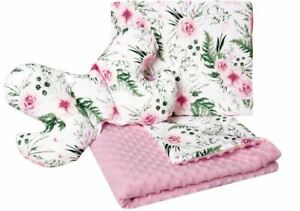 Baby Bedding Set 3in1 For Cradles Baby Strollers Blanket Pillow Pink Flowers