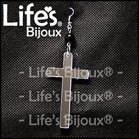 Orecchino Croce Crocifisso Gesu Donna Ciondolo Plexiglass Pendente Specchio 6 cm