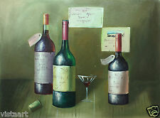 "Hand Painting Oil on Flat Canvas  36""x 48"" (3' x 4')  Wine Tasting Bottles"