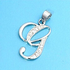 Alphabet Initial Pendant Sterling Silver 925 Cubic Zirconia Jewelry Letter G