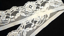 """1 Yard 1 yd. Cream Off White Floral Pattern Elastic Stretch Lace 2"""" 2in. Wide"""