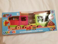 Hey Duggee Official Wooden Toy Light And Sound Train Peg Dolls Squirrels BNIB