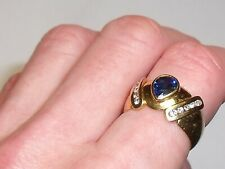 Diamond & Sapphire Ring 18ct 750 Gold Size N 1/2 - O Weighs 4.8g