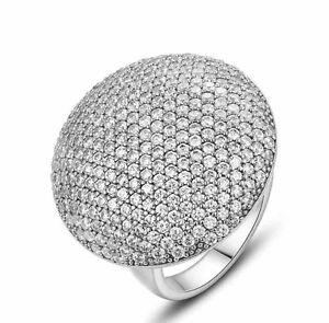 White Sapphire Birthstone Round Gold Filled Wedding Bridal Ring Gift Size 6-10