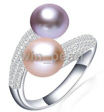 925 Sterling Silver Double 8-9MM purple&pink freshwater Cultured  Pearl  CZ Ring